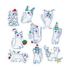 Christmas Cats by Elena Losada | Shop: https://society6.com/product/christmas-cats918966_cards?sku=s6-8256321p22a16v71