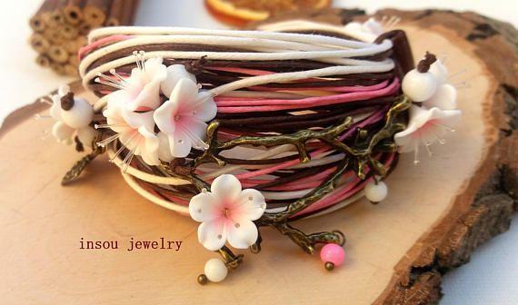 Cherry Blossom Charm Bracelet Sakura Wrap Bracelet Flower
