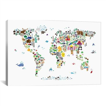 @rosenberryrooms is offering $20 OFF your purchase! Share the news and save!  Animal Map of the World Canvas Wall Art #rosenberryrooms
