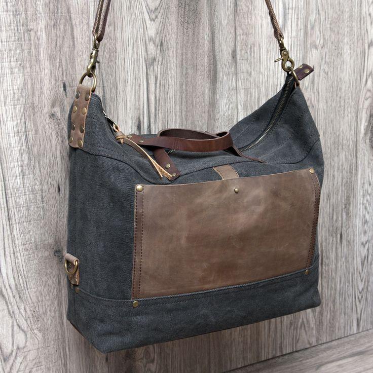 "Grishina Elena: Сумка ""Горизонт"" / Bag ""Horizon""-  холст и кожа, canvas and leather, canvas bag, leather bag, black bag, big bag, brown bag   #canvasbag #brownbag #leatherbag #canvas #grishinastudio"
