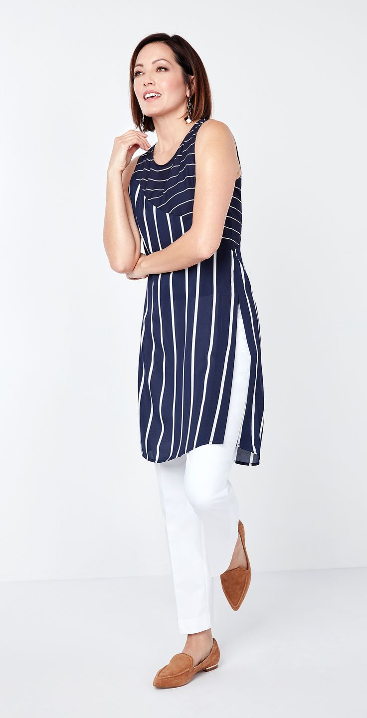 Make a fashion statement with the long slit detail on our Navy Striped Tunic Blouse.
