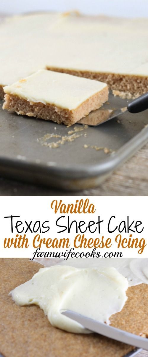This Vanilla Texas Sheet Cake with Cream Cheese Icing is a moist cake with a creamy icing that will have everyone asking for seconds!