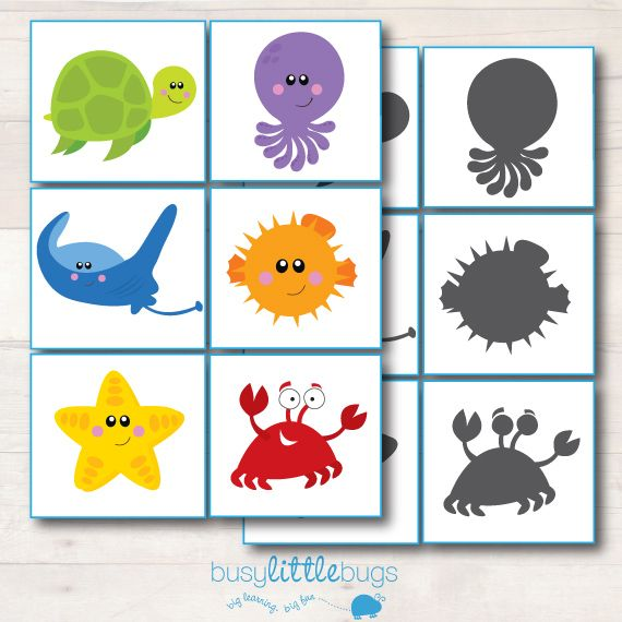 Free Shadow match from our ocean learning pack