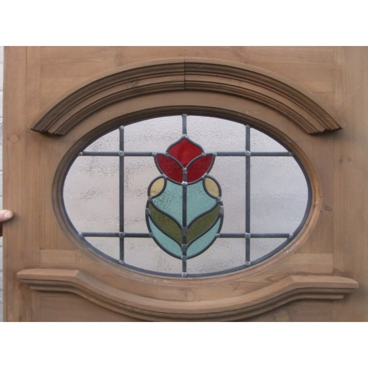 1930 Edwardian Stained Glass Exterior Door - Central Tulip