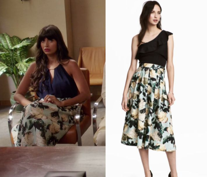 """2x09 by Kirsty0 Comments Tahani Al Jamil (Jameela Jamil) wears this floral printed midi skirt in this episode of The Good Place, """"Leap to Faith"""".  It is the H&M Calf-length skirt in Mint Green/Floral. Buy it HERE for $69.99"""