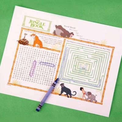 Keep little party animals from climbing the walls with this fun Jungle Book activity page.