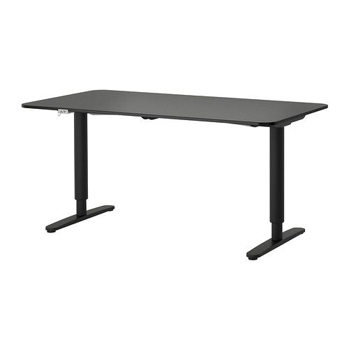 "IKEA - BEKANT, Desk sit/stand. You can adjust the height of the table top electrically from 22"" to 48"" to ensure an ergonomic working position.Changing positions between sitting and standing helps you both feel and work better."