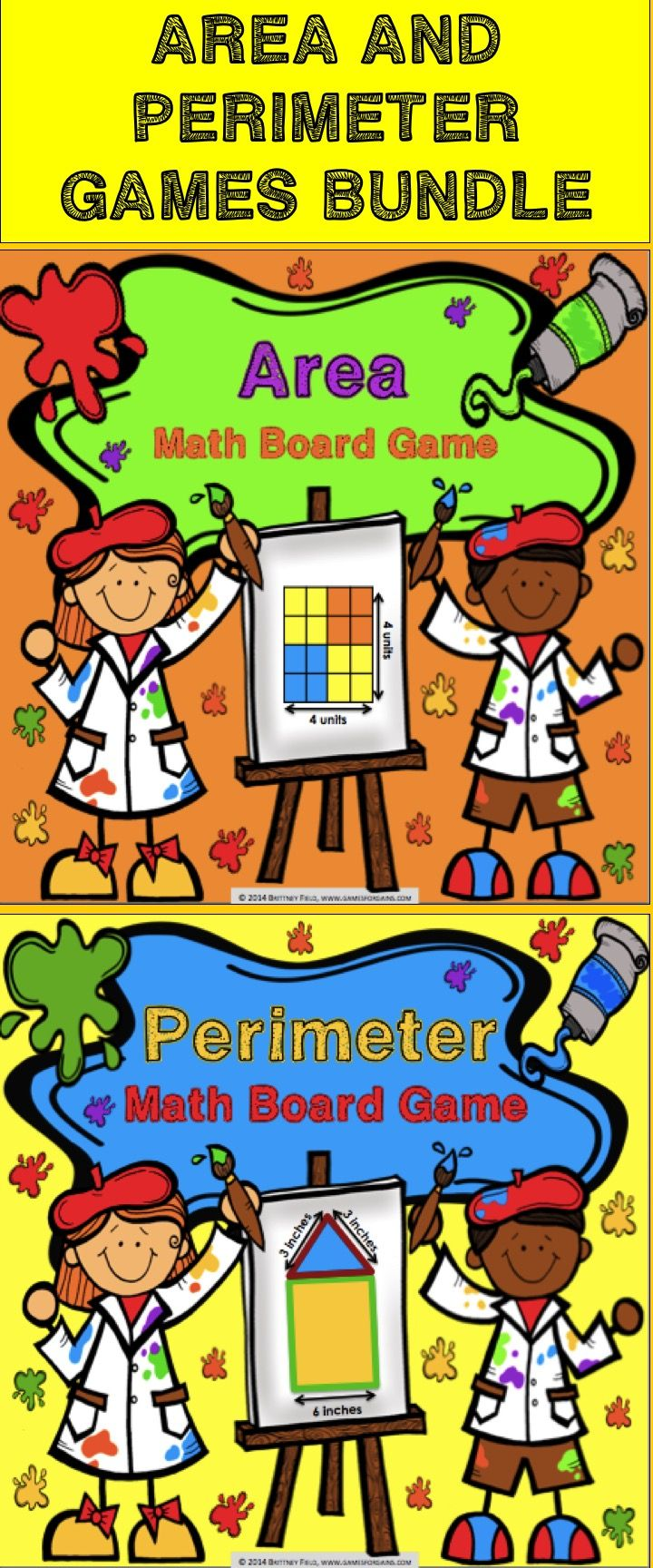 Area and Perimeter: Area and Perimeter Games Bundle includes two of our most popular board games, Area Board Game and Perimeter Board Game, for 20% off of their individual prices. These area and perimeter board games work great as a pair/group activity, in math centers, or as an informal assessment tool. #math