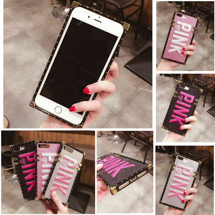 Hot 3d embroidery pink glitter square phone case cover for
