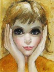 "Margaret D. H. Keane ""Contemplation (Big Eyes) 9x12"" Original Painting Oil on Canvas Size: 9 x 12 in  