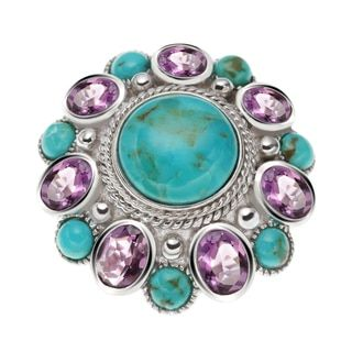 Shop for Sterling Silver 10.33ct Round Turquoise and Brazilian Amethyst Flower ring. Free Shipping on orders over $45 at Overstock.com - Your Online Jewelry Destination! Get 5% in rewards with Club O!