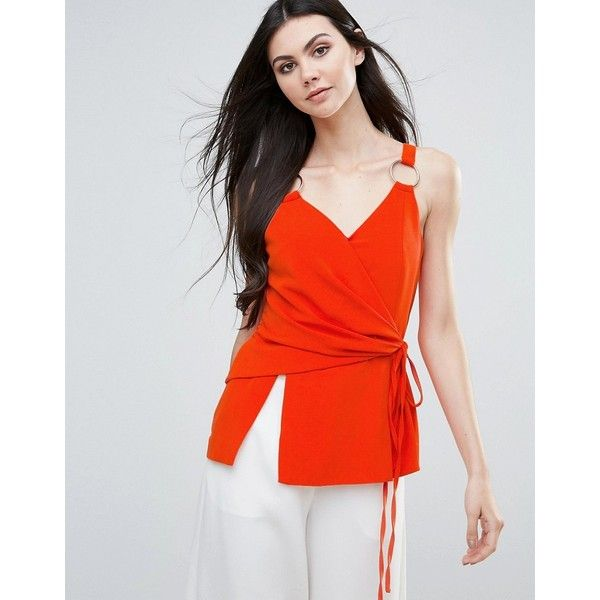 Lavish Alice Top With Ruched Side And D-Ring Detail (€34) ❤ liked on Polyvore featuring tops, orange, spaghetti-strap tops, tall tops, v neck strappy top, wrap front top and strappy cami top