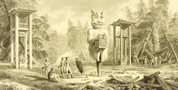 Efemérides :: 30 de julio Ritual funerario con Tótem (en el centro) y grandes piras funerarias (a los lados) dibujado por Fernando Brambila durante el Viaje Científico y Político Alrededor del Mundo (1789-1791) más conocido como Expedición Malaspina-Bustamante en el entorno de Mulgrave. La expedición recopiló las primeras descripciones etnográficas de los nativos de la zona Noroeste americana (costa oeste de Canadá y Alaska). 1626. Comienzan las obras de construcción de los edificios de la…