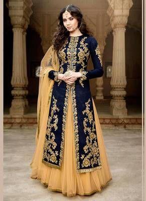 275ba656dc Navy blue embroidered Bangalori silk semi stitched Anarkali Lehenga suit  with dupatta