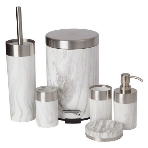 Enhance the looks of your bathroom with this modern bath accessory set. It is made of stainless steel and plastic, it includes a soap dispenser, a soap dish, a toothbrush holder, a tumbler, a toilet brush and a holder.