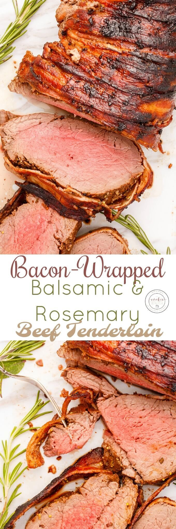 Bacon-Wrapped Balsamic and Rosemary Beef Tenderloin | http://thecookiewriter.com | @thecookiewriter | Recipes don't have to be complicated to be good! Cooked in the oven with a simple marinade, this roast is so gourmet and well worth every penny! Save the tips and other goodies to make stewing beef! Completely gluten-free, too.