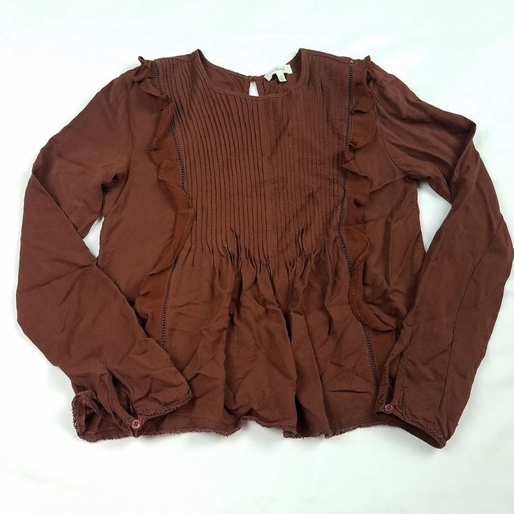 Wilfred Aritzia Womens Blouse Size XXS Brown Long Sleeve Ruffle Smocked Top #Aritzia #Blouse