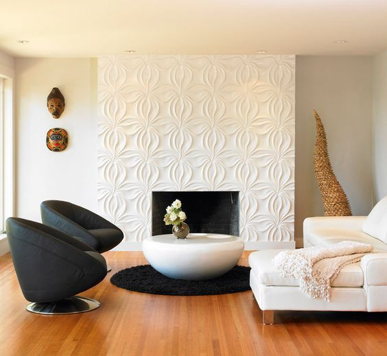 Wall Living Room With Fireplace