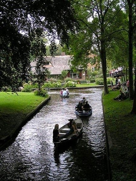 "Giethoorn in Holland is a beautiful and quiet little village unique in that roads are a rare thing.  Rather, it is connected by waterways and paths and some biking trails.  Visitors are always welcomed and encouraged to rent an electric and noiseless ""Whisper Boat"" to explore this little piece of heaven on earth."