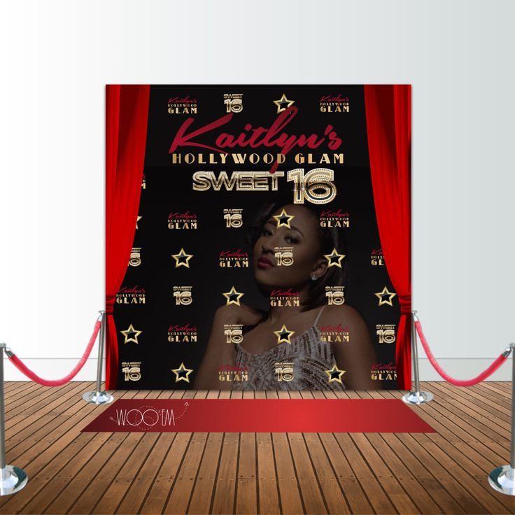 Hollywood Glam Sweet 16 Birthday, 8x8 Backdrop / Step & Repeat, Design, Print and Ship! by Wooem on Etsy https://www.etsy.com/listing/276041794/hollywood-glam-sweet-16-birthday-8x8