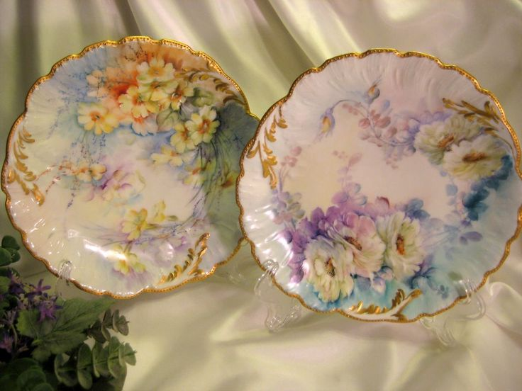 """""""Hand painted FLORALS & JEWELS """" ~ Ten Absolutely Breathtaking and from oldbeginningsantiques on Ruby Lane"""