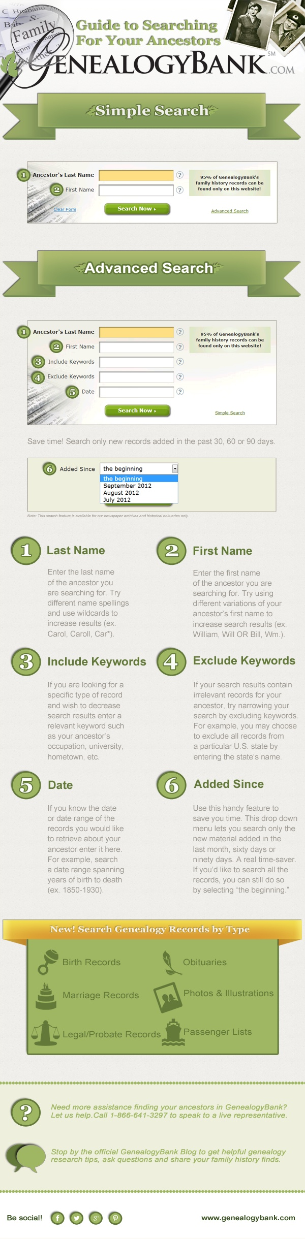 Guide to Searching For Your Ancestors Infographic by GenealogyBank: http://blog.genealogybank.com/genealogybank-ancestor-search-guide.html Pay site, but has a free trial period. Able to search newspaper articles from 1690 to present to find info re ancestors