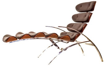 Divano Design - Spider  Spider chair in stainless steel, cherry, and leather by Divano Design, 305-438-1321; divanodesignmiami.com.