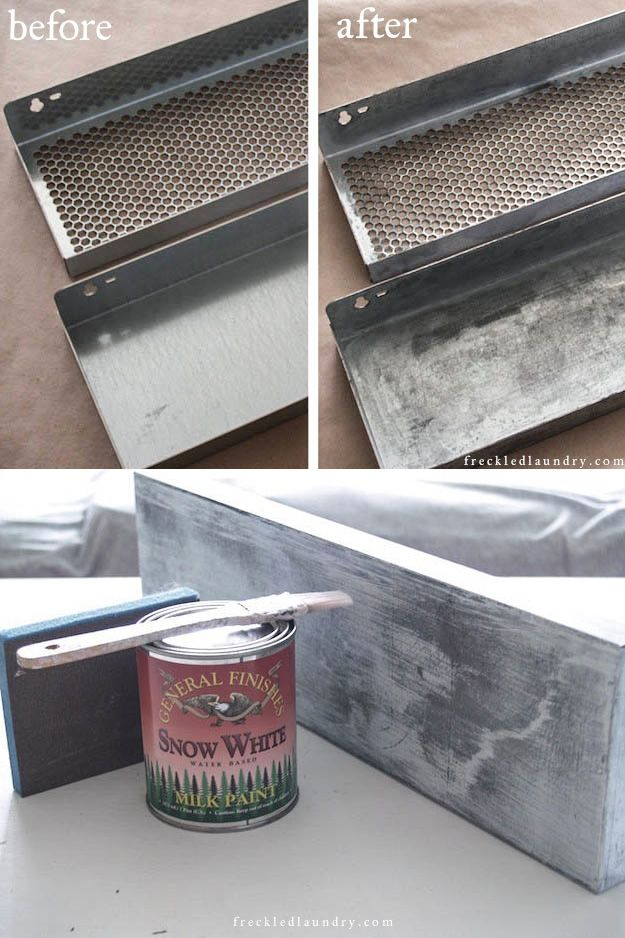 How To Age Metal To Give It A Zinc Looking Finish U0026 How To Give Metal A  Painted White Finish