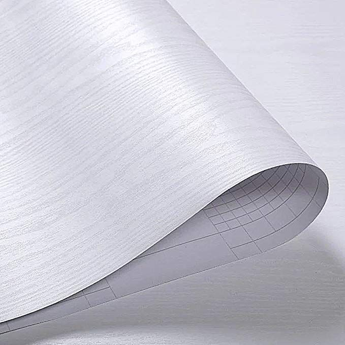 Oxdigi White Wood Grain Contact Paper Self Adhesive Peel Stick Film Wallpaper For Kitchen Countertop Cabinet Shelf Door Wat White Wood Countertops Wood Grain