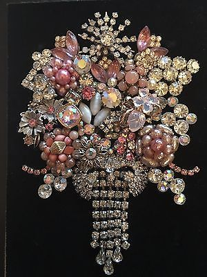VINTAGE JEWELRY FRAMED ART, NOT CHRISTMAS TREE, PINK FLOWER BOUQUET - GORGEOUS!