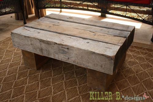 reclaimed railroad tie outdoor coffee tablelove this for my
