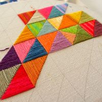 One way to use up leftover thread… | -- ✄ - ✄ - the smallest forest - ✄ - ✄ -- #embroidery #embroidery #hand #geo #geometric #thread #floss #leftover #scrap #project #triangle #canvas