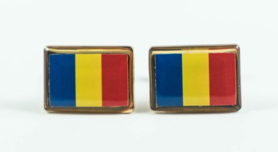 Romanian Flag Cufflinks by LoudCufflinks on Etsy