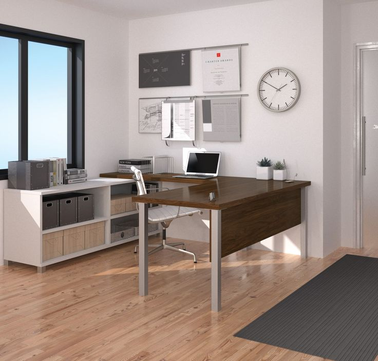 This new u-shaped option from Bestar includes a beautiful combination of matte silver legs, oak barrel finish, and white finish. The main desk portion includes a privacy panel and huge work area, and