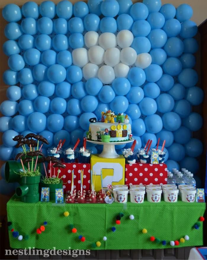 Super mario party planning ideas cake idea supplies for Mario decorations