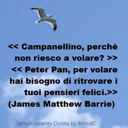 << Campanellino, perchè non riesco a volare? >> << Peter Pan, per volare hai bisogno di ritrovare i tuoi pensieri felici.>> (James Matthew Barrie)