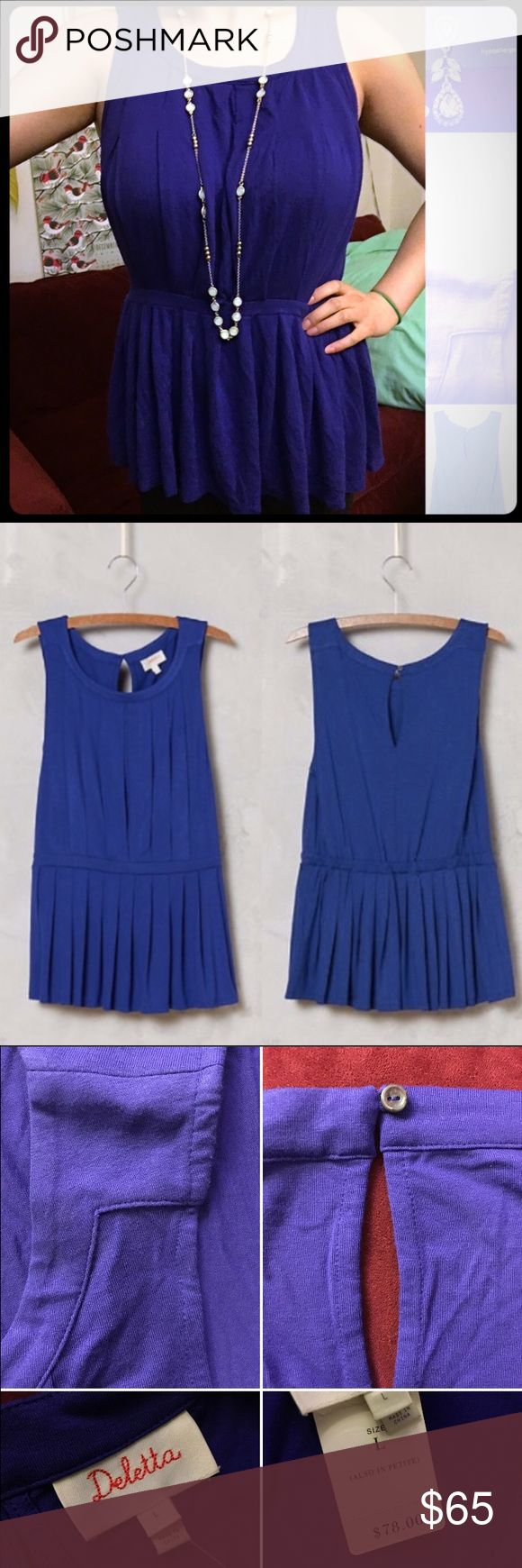 Anthropologie Pleated Peplum Tank, RoyalBlue Anthropologie Pleated Peplum Tank in Royal Blue. Super cute top! Fits well & is very flattering! Accentuates the waist. Beautiful stitching & thoughtful details such as the button in the back. Soft fabric, stretchy waist. It's so versatile & can be dressed up or down. I've received a lot of compliments, & the pictures just don't do it justice! Sophisticated yet subtly sexy. Love! I bought two different sizes & didn't have time to return one. By…