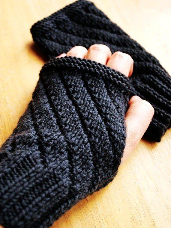 Knit+Scarf+Patterns+for+Men | Knitting Pattern - Fingerless Gloves - Mitts Gauntlets - for Men or ...