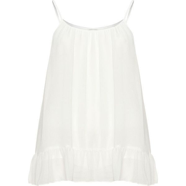 Zizzi Cream Plus Size Ruffle hem cami top (920 ZAR) ❤ liked on Polyvore featuring tops, cream, plus size, plus size tanks, white camisole, white tank top, loose tank and white cami