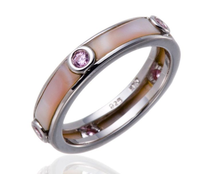 Pink Mother of Pearl & CZ Solid 925 Sterling Silver Band Ring