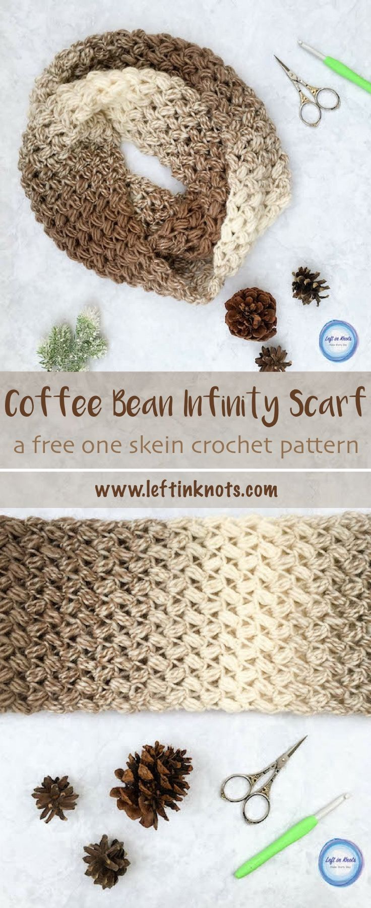 This free crochet pattern uses the cloud-like texture of Lion Brand Scarfie yarn combined with the bean stitch to make the most beautiful and comfortable infinity scarf.  The Coffee Bean Infinity Scarf takes just one skein of Lion Brand Scarfie yarn and will be a perfect addition to your last-minute gift list this holiday season!  This is the third free crochet pattern of my Seven Days of Scarfie pattern collection. #crochet #freecrochetpatterns #infinityscarf