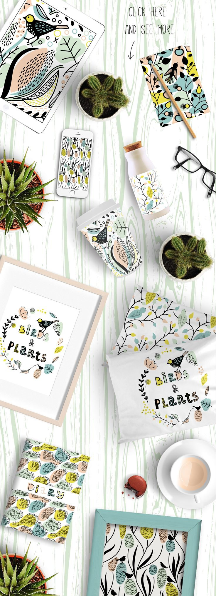 Birds and Plants: Five hand drawn seamless patterns and alphabet