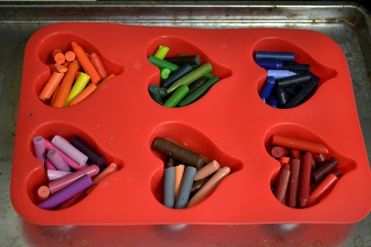 """melt old crayon stubs in a muffin tin to create heartshaped """"new"""" crayons"""