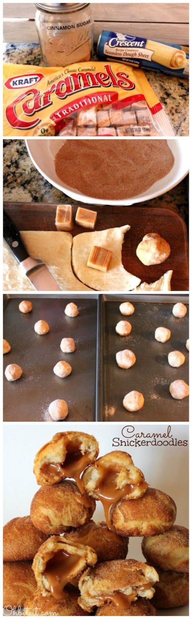 1 Pillsbury Crescents Seamless Dough Sheet Caramel Candies..one per each Doodle. 1 cup of Cinnamon/Sugar..blended to your taste Cut out about a 2″x2″ piece of dough and wrap it gently and snuggled around one Caramel.  Roll it in the Cinnamon Sugar…Place them onto a baking sheet about 1″ or so apart…Bake them at 350 degrees for about 12 minutes, or until they're firm and slightly puffy.