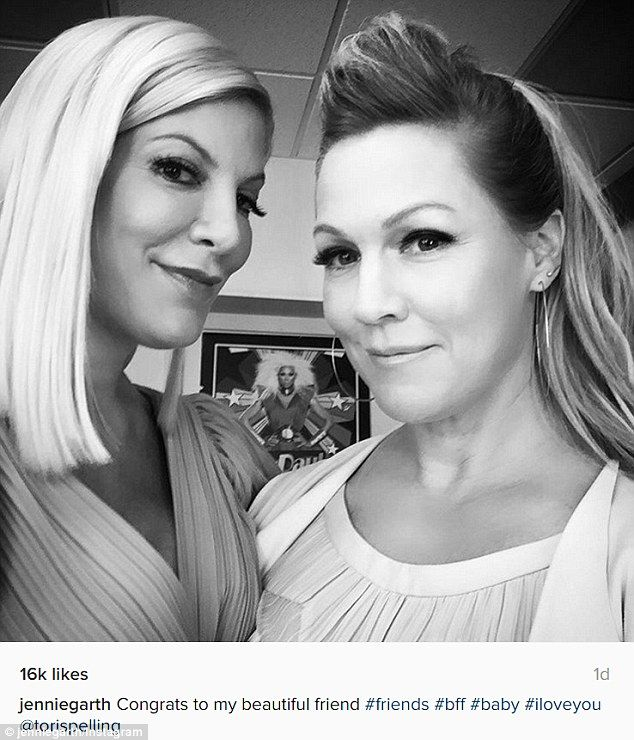 Friends forever: Jennie Garth was one of the first to congratulate Tori Spelling on her pr...