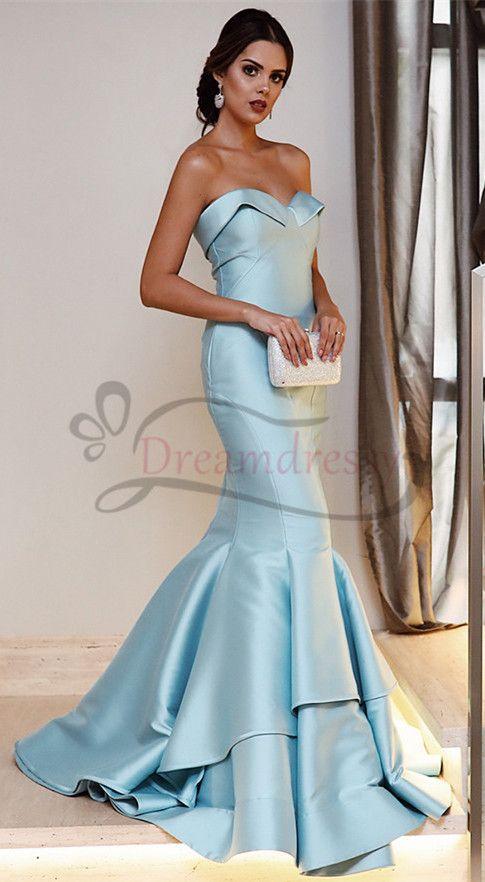 a9bc048c624 Princess Light Blue Ruffles Mermaid Long Evening Dress in 2019 ...