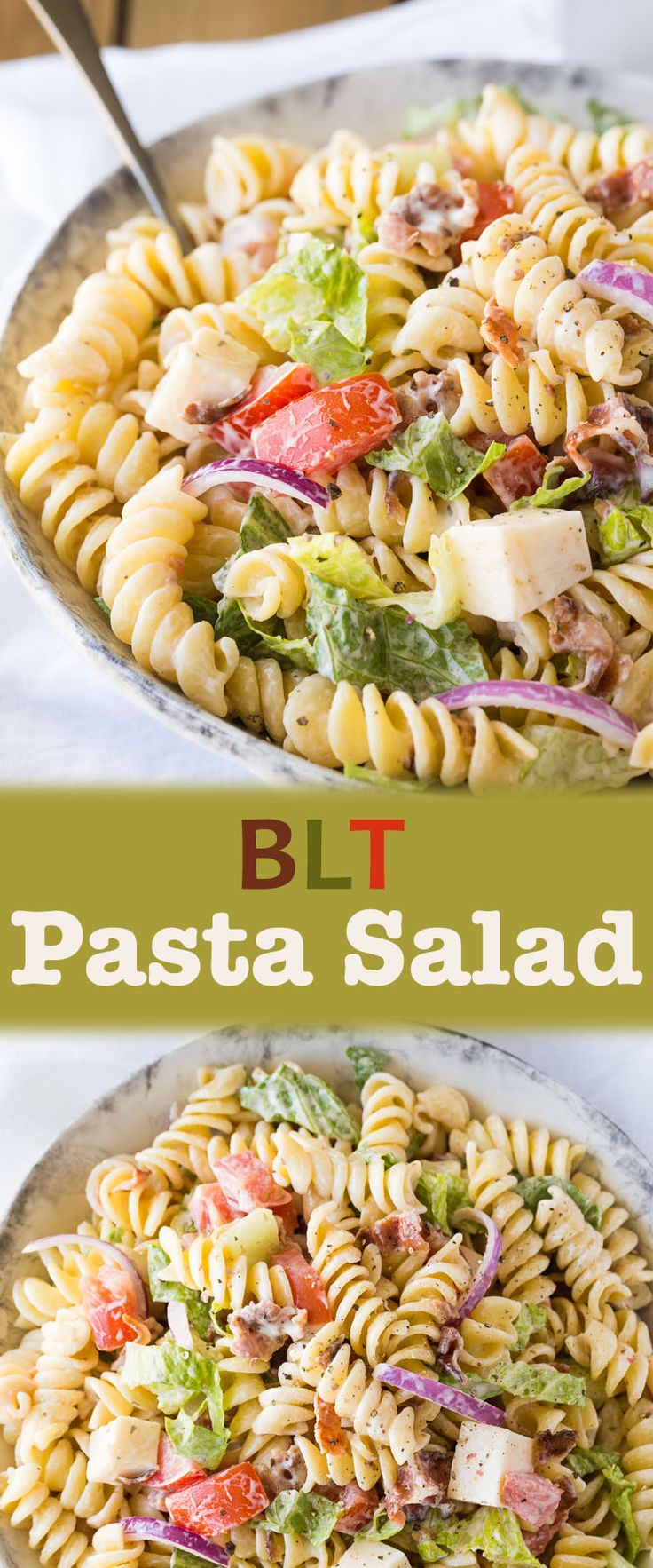Bring on the Summer BBQ's and serve BLT Pasta Salad! This yummy easy salad recipe is full of bacon, tomato, lettuce, pasta and more - one of my favourites!