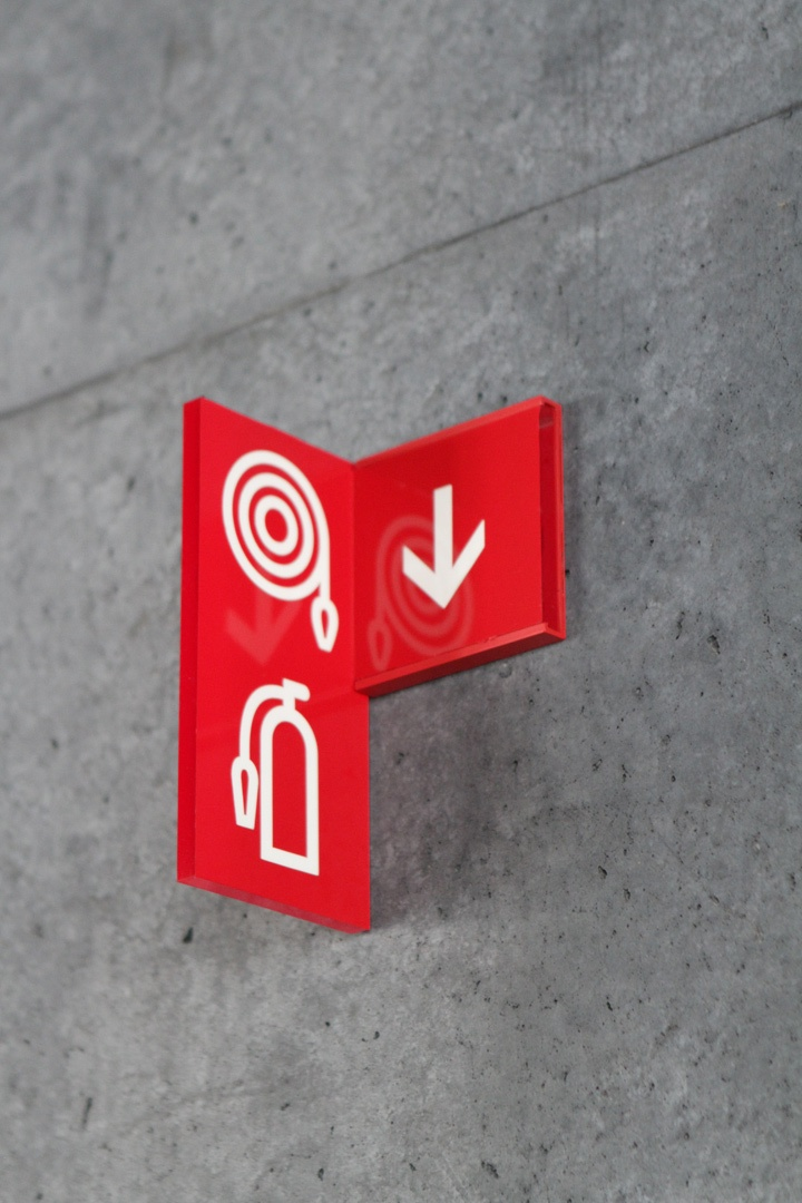 Fire Extinguisher Environmental Signage at Harpa Concert Hall & Conference Centre, Reykjavik, Iceland
