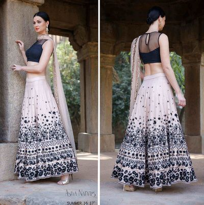 Destination wedding outfits , blue and white lehenga , crop top lehenga , floral threadwork lehenga , cocktail night lehenga