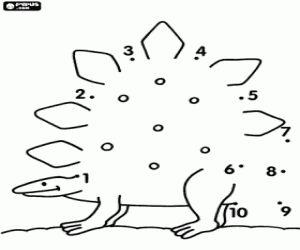 Colorear Un estegosauro, punto a punto